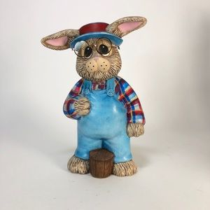 "Farmer bunny is ready for spring! 11"" tall"